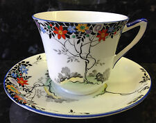 "Shelley Doric Shape ""Black Leafy Tree"" Pattern Tea Cup & Saucer."