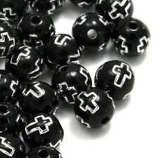 Lot of 100 Opaque Black 8mm Round Plastic Acrylic Beads with Silver Cross Accent