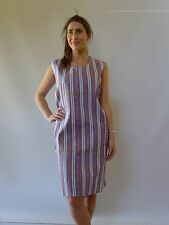 Vintage retro 60s 18 - 20 XXL unused cotton shift mod dress NOS  purple stripes