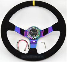 KODE-350mm Deep Dish Suede Steering Wheel BLACK Stitching with NEO Chrome Centre