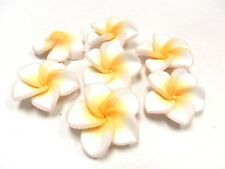 10 Fimo Polymer Clay Plumeria Flower Fimo Beads 30mm White Yellow