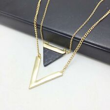 Fashion Minimalist Turquoise Triangle V Double-deck Marble Pendant Necklace