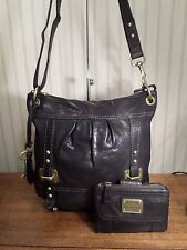 Fossil Vintage Black Genuine Leather Crossbody Shoulder Handbag & Wallet *NICE*