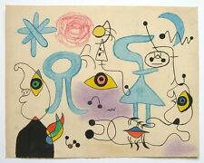 JOAN MIRO Curious unique drawing painting. Signed. Abstract.
