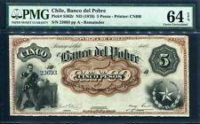 Chile 1876, 5 Pesos, S362r, PMG 64 EPQ UNC