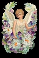 Antique style Die Cut Scrap Hand Glittered Angel Easter Scrapbook projects