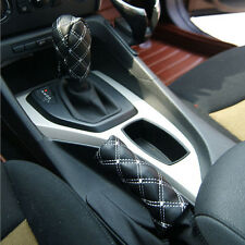 2x Car SUV Auto Accessory Gearshift Handbrake Black Grid Microfiber Jacket Cover