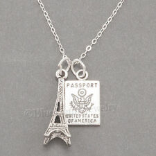 """EIFFEL TOWER & PASSPORT Charm Pendant Travel 925 STERLING SILVER 18"""" Necklace"""