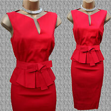Karen Millen Signature Cotton Red Peplum Bow Cocktail Office Pencil Dress 14 UK