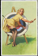"""1950's Elvgren Authentic Pin-Up Poster Art Print Archery """"Right On Target"""" 11x17"""