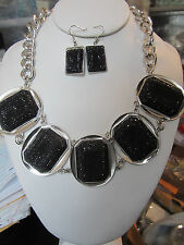 Black Lucite Stud Silver Tone Oval Base Chunky Necklace Earring Set