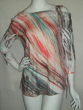 IMPULSE COLLECTION TRAVEL KNIT TUNIC  COLD SHOULDER   SM   BRUSH STROKES