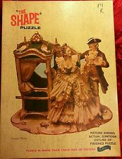 "Vintage MCM DRESDEN FIGURINE COACH JIGSAW PUZZLE 28"" x 20"" The Shape"" FAIRCHILD"