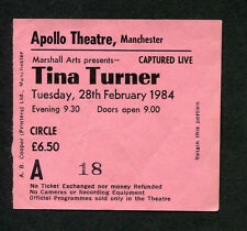 1984 Tina Turner Concert Ticket Stub Apollo Theatre Manchester Uk Private Dancer