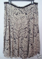 Christopher & Banks A-Line Beige & Black Skirt 14 PETITE Wear to Work NWT