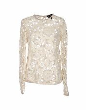 ISABEL MARANT Crochet Cream Lace Top Suede Trim New BNWT UK 8 FR 36 RRP £455