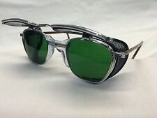 NOS AO GLASSES METAL / SHIELDS GREEN LENS SAFETY WELDING CUSTOMIZED