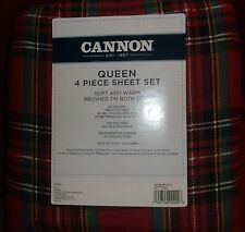 QUEEN FLANNEL SHEETS RED PLAID COTTON FLANNEL RED TARTAN CANNON NEW SHEET SET