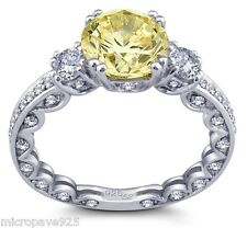 Canary Yellow Cubic Zirconia Pave Set Solitaire 925 Sterling Silver Size 6