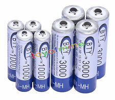 4AA+4AAA1000mAh 3000mAh 1.2V NI-MH CELL batteria ricaricabile / RC MP3 2A 3A BTY