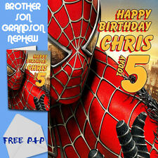 SPIDERMAN - PERSONALISED Birthday Card Son Brother Nephew Grandson