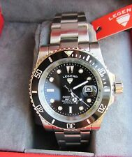 "Reloj Suizo Int. Submariner ""Legend"" Azul profundo buzos Negro 44mm 200mtr 660ft"