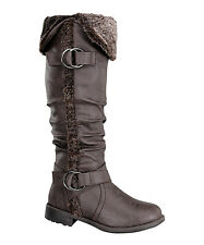 Women's Winter Faux Fur Leather Cuff Buckle Slouchy Riding Boot Size 5 - 10 NEW