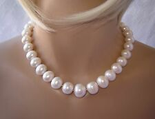 NATURAL 15 mm - 18 mm WHITE PEARL NECKLACE 18-1/4 INCHES IN LENGTH