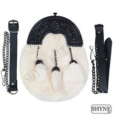 WHITE RABBIT FUR FULL DRESS SPORRAN WITH BLACK CANTLE 3 WHITE TASSELS