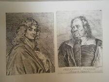 Planche gravure Claude le Febvre Autoportrait et de - Alexandre Boudan marchand