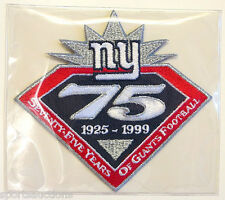 NEW YORK GIANTS ~ 75th ANNIVERSARY NFL PATCH STAT CARD Willabee & Ward WORN 1999