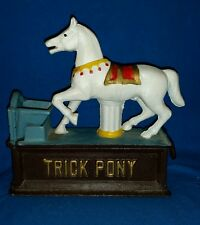 Trick Pony Carousel Horse Cast Iron Mechanical Coin Bank Working