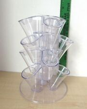 "Vintage Stacked Cluster 12 Clear Bud Flower Frog/Vase 8 1/2"" HIGH 5 piece"