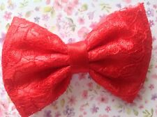 """NEW SMALL HANDMADE 3"""" SATIN & FLORAL LACE FABRIC BOW HAIR CLIP 50s VINTAGE STYLE"""