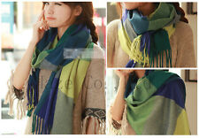blue&green Long Scotland Cashmere wool soft Scarf Shawl plaid classics AA*