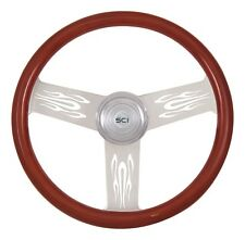 "18"" 3 Spoke Flames Steering Wheel 3-Hole for Freightliner, Peterbilt,KW + more!"