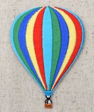 Iron On Embroidered Applique Patch Colorful Striped Hot Air Balloon