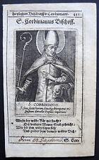 Cuivre clés pour 1700-p. Corbinian, l'évêque-engrving, holy card, gravure