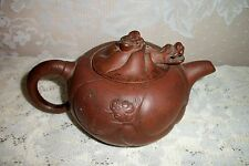 CHINESE YIXING ZISHA RED CLAY TEAPOT DRAGON HEAD WITH SIGNED LID