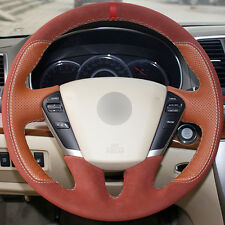 Top Leather Steering Wheel Hand-stitch on Wrap Cover For Nissan Teana 2008-2012