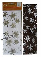 Snowflakes Cello & Tissue Pack Wrapping Gift Paper - 8 sheets Christmas Xmas