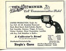 1965 Print Ad of The 49er Miner Colt Commemorative 22 Revolver Siegle's Guns