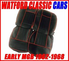 MGB Roadster and GT Pair of Seat Covers 1962-1968 Leather look Black / Red