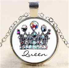 Royal Crown Queen Cabochon Glass Tibet Silver Chain Pendant  Necklace