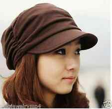 New fashion women's girl autumn and winter knitting folding Brown hat