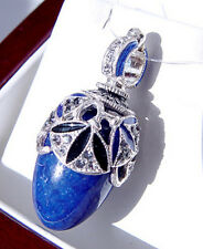SALE ! BEAUTIFUL RUSSIAN STERLING SILVER WITH GENUINE LAPIS EASTER EGG PENDANT