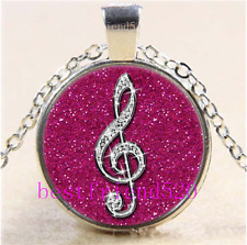 Rose Diamond musical note Cabochon Glass Tibet Silver Chain Pendant Necklace#1I0