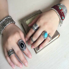 4Pcs Set New Hot Sale Retro Silver Plated Boho  Elephant Finger Punk Ring Womens