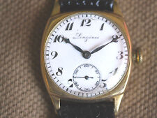 VINTAGE 14K GF LONGINES CUSHION SHAPE WITH BEAUTIFUL ENAMEL DIAL CIRCA 1930'S