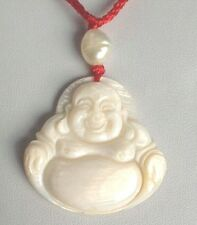 "1.5"" White Mother of Pearl Sea Shell Cameo buddha Craft Pendant  G032"